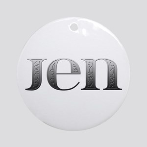 Jen Carved Metal Round Ornament