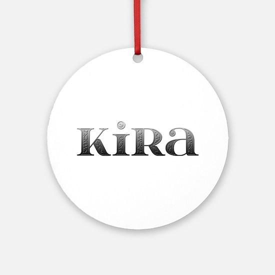 Kira Carved Metal Round Ornament