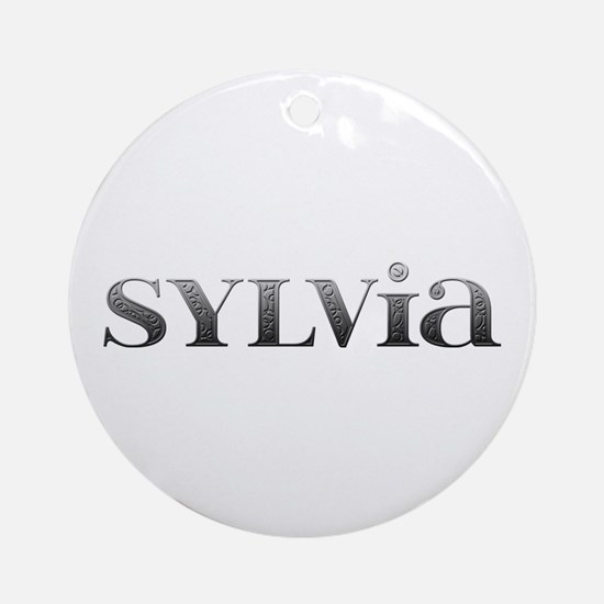 Sylvia Carved Metal Round Ornament