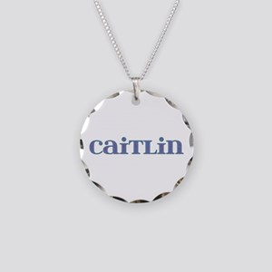 Caitlin Blue Glass Necklace Circle Charm