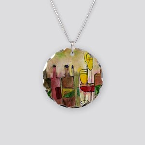 Wine cocktail Necklace Circle Charm