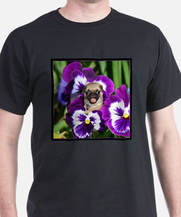 Pug in Pansies T-Shirt