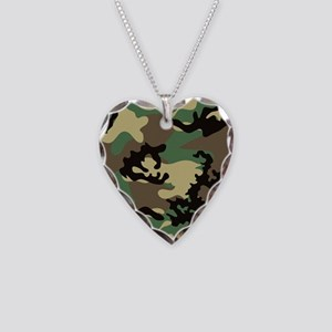 Woodland Camo Necklace Heart Charm