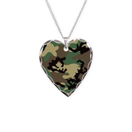 Woodland Camo Necklace Heart Charm