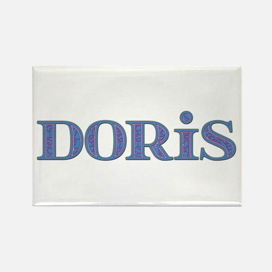 Doris Blue Glass Rectangle Magnet