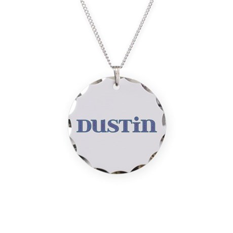 Dustin Blue Glass Necklace Circle Charm