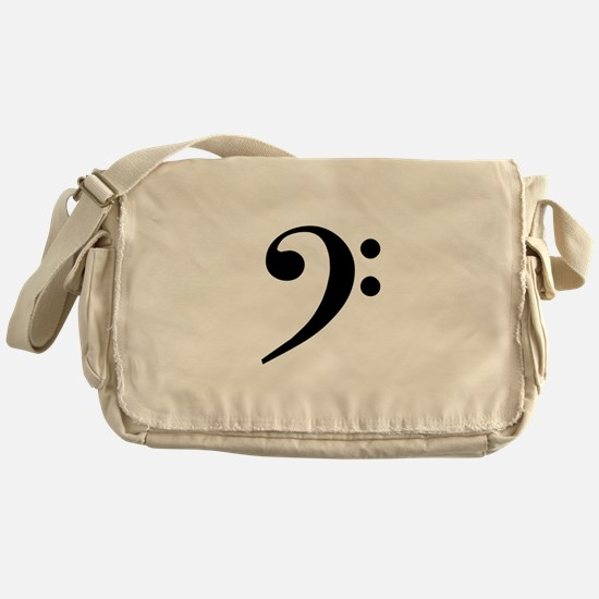 Trad Basic Black Bass Clef Messenger Bag