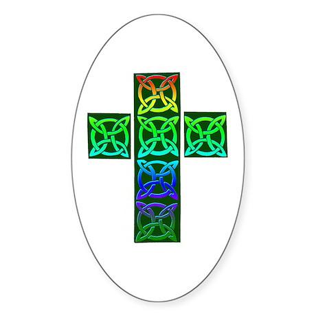 Glowing Celtic Cross Sticker (Oval)