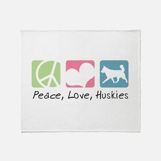 Peace, Love, Huskies Throw Blanket