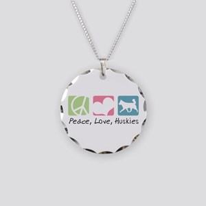 Peace, Love, Huskies Necklace Circle Charm