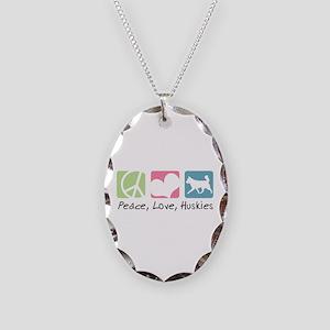 Peace, Love, Huskies Necklace Oval Charm