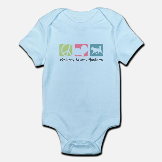 Peace, Love, Huskies Infant Bodysuit