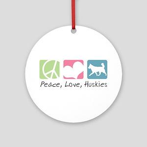 Peace, Love, Huskies Ornament (Round)