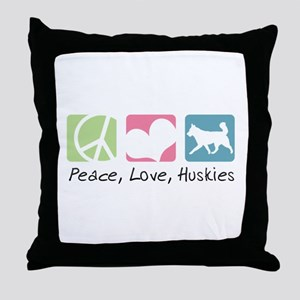 Peace, Love, Huskies Throw Pillow
