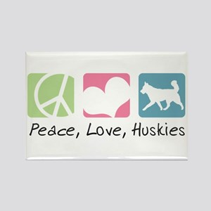 Peace, Love, Huskies Rectangle Magnet