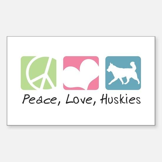 Peace, Love, Huskies Sticker (Rectangle)