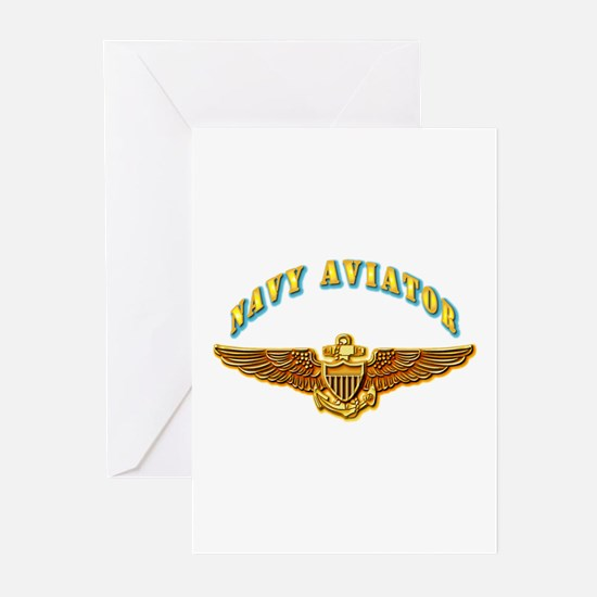 Navy - Navy Aviator Badge Greeting Cards (Pk of 10