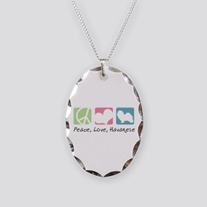 Peace, Love, Havanese Necklace Oval Charm