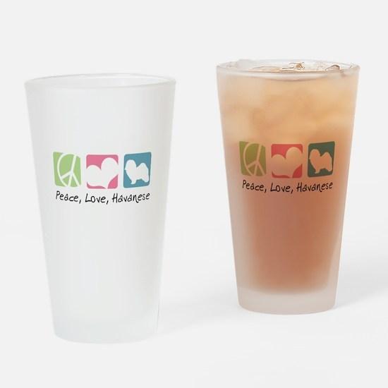Peace, Love, Havanese Drinking Glass