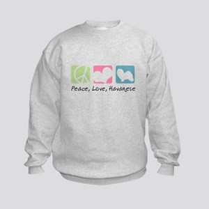 Peace, Love, Havanese Kids Sweatshirt