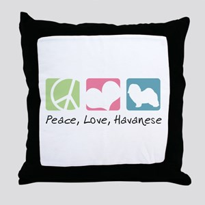 Peace, Love, Havanese Throw Pillow