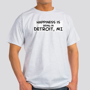 Happiness is Detroit Ash Grey T-Shirt