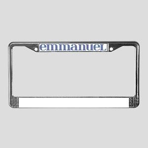 Emmanuel Blue Glass License Plate Frame