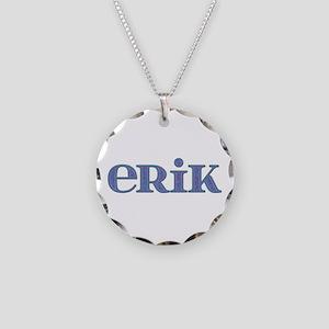 Erik Blue Glass Necklace Circle Charm