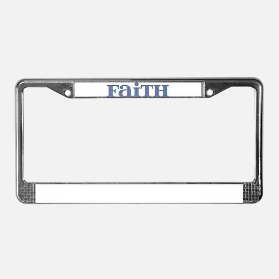 Faith Blue Glass License Plate Frame