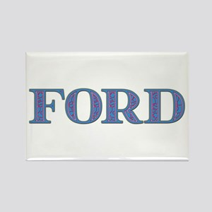 Ford Blue Glass Rectangle Magnet