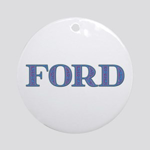 Ford Blue Glass Round Ornament