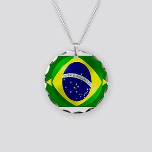 Brazil flag with bubble Necklace Circle Charm