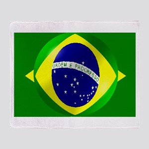 Brazil flag with bubble Throw Blanket