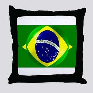Brazil flag with bubble Throw Pillow