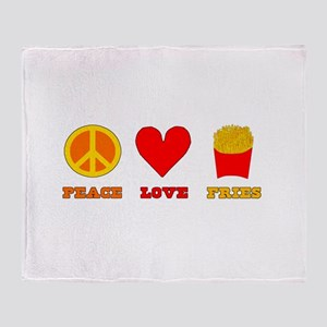 Peace Love Fries Throw Blanket
