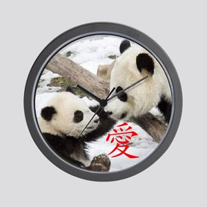Chinese Love Pandas Wall Clock