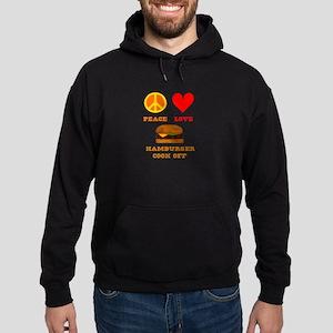 Peace Love Hamburger Cook Off Hoodie (dark)