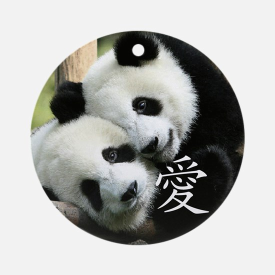 Chinese Loving Little Pandas Ornament (Round)