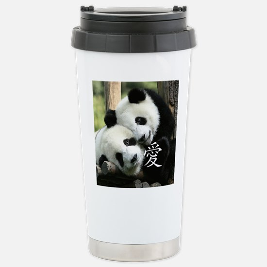 Chinese Loving Little Pandas Stainless Steel Trave