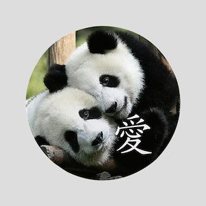 "Chinese Loving Little Pandas 3.5"" Button"
