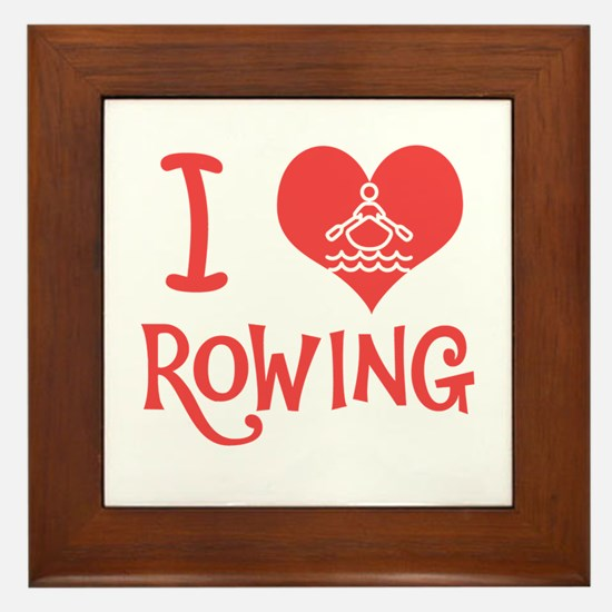 I Love Rowing Framed Tile