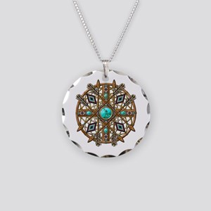 Beads and Arrows Mandala Necklace Circle Charm