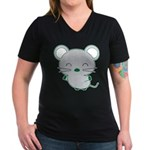 Smile Women's V-Neck Dark T-Shirt