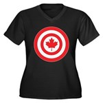 Captain Canada Women's Plus Size V-Neck Dark T-Shi