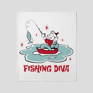 Retro Fishing Diva Throw Blanket