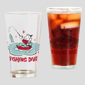 Retro Fishing Diva Drinking Glass