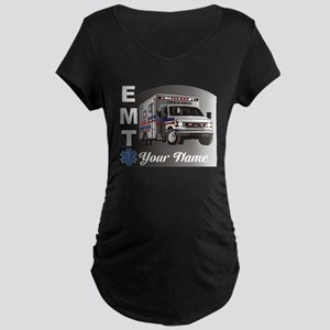 Custom Personalized EMT Maternity Dark T-Shirt