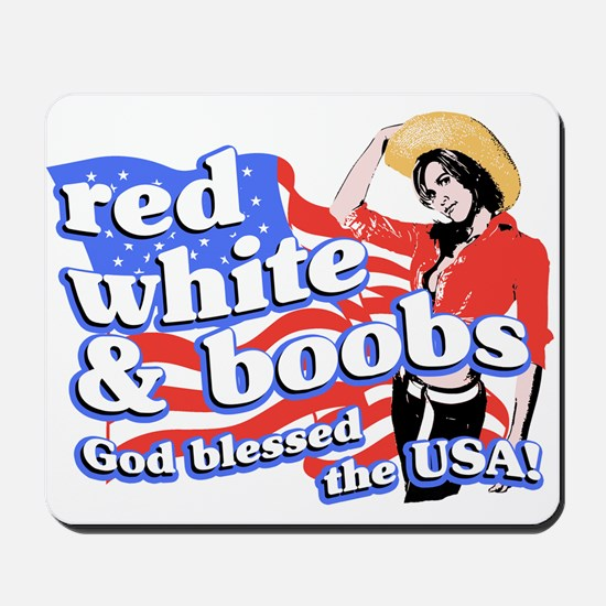 red, white, and BOOBS Mousepad
