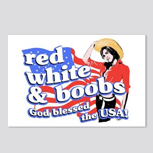 red, white, and BOOBS Postcards (Package of 8)