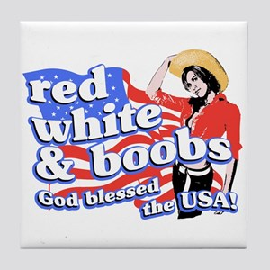 red, white, and BOOBS Tile Coaster